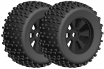 Team Corally - Off-Road 1/8 Monster Truck Tires - Gripper - Glued on Black Rims - 1 pair Dementor